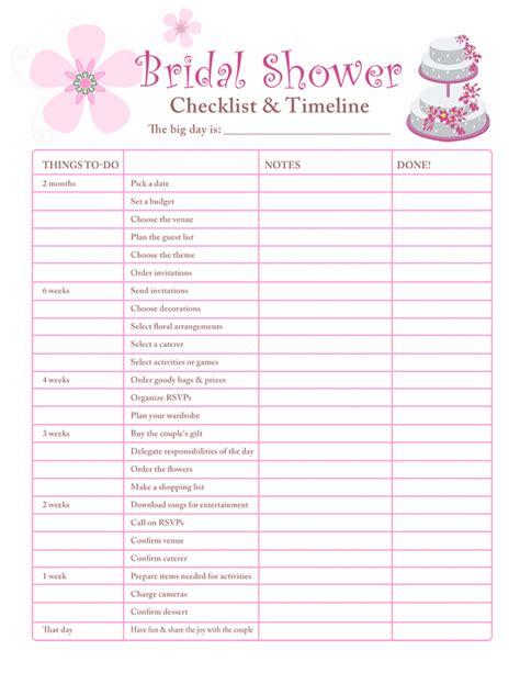 printable checklists bridal shower checklist
