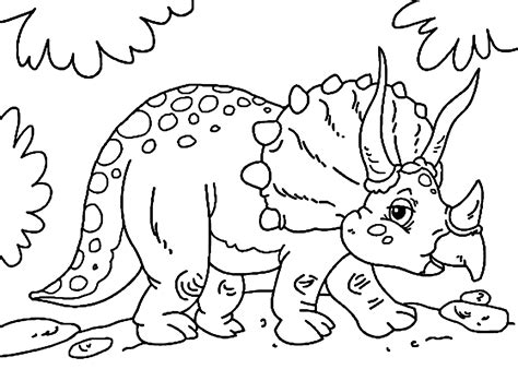 cute  triceratops dinosaur coloring pages  kids