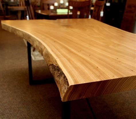 Elm Live Edge SLAB Table   Solid Hardwood Furniture