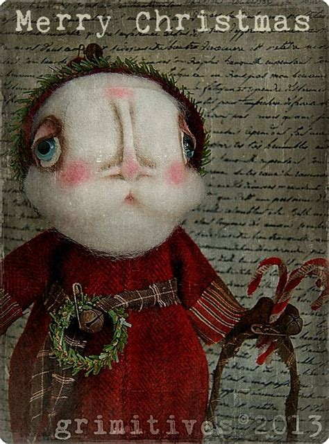 primitive christmas santa claus original art doll saint