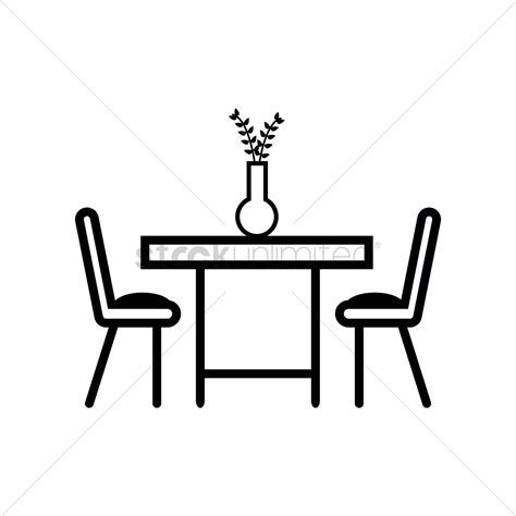 dining table with food clipart black and white dining table with two chairs vector image 1371733