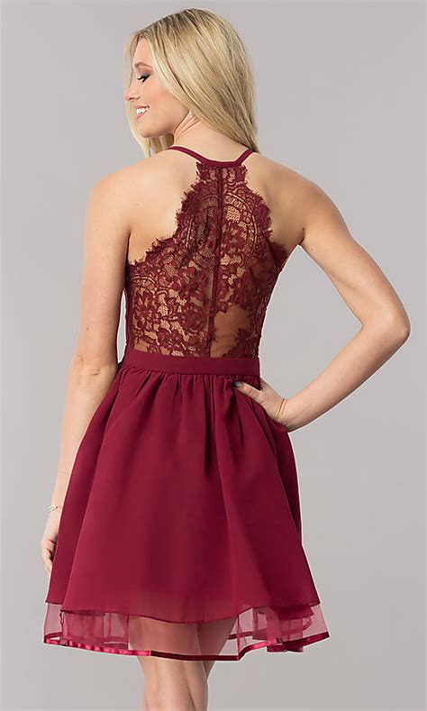 Lace-Racerback Short Homecoming Dress - PromGirl