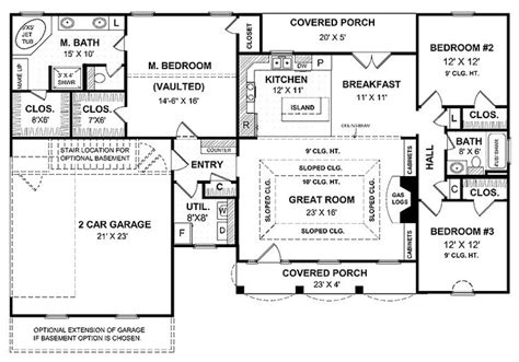 house plans with big kitchens a simple one house plan with two master wics big