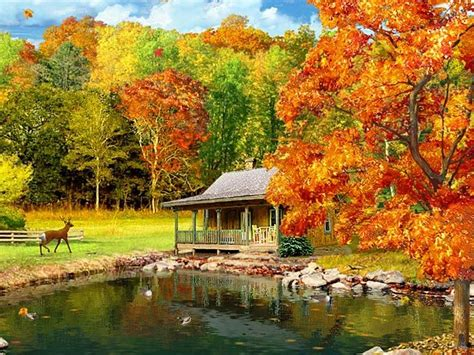 Animated Autumn Wallpaper - fall scenery desktop wallpaper 3d falling leaves