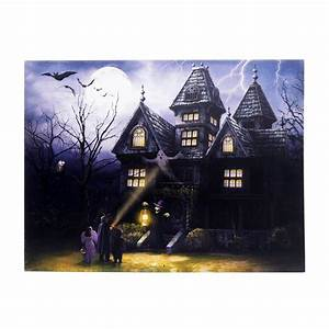 15, In, X, 20, In, Halloween, Haunted, House, Led, Canvas, With, Sound-ha82581r