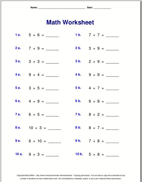 times tables worksheets 3rd grade multiplication tables