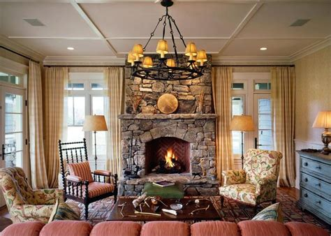 cozy cottage living room  stone fireplace cottage