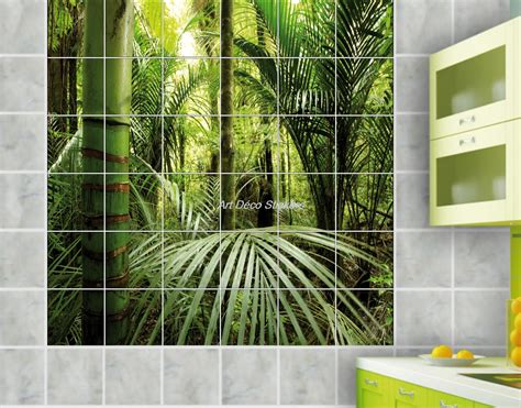 adhesif carrelage mural cuisine stickers salle de bain bambou inspirations et stickers