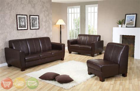 Winston Dark Brown Leather 3 Piece Sofa Love Seat Chair Set