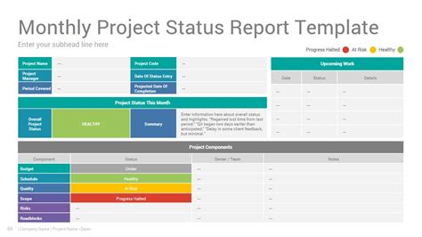 project status report powerpoint template design slidesalad