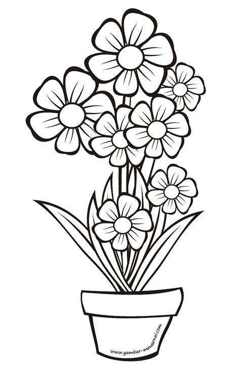 contoh menggambar bunga yang mudah semburat warna