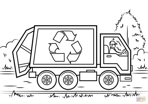 recycling truck collect recycling material colouring pages