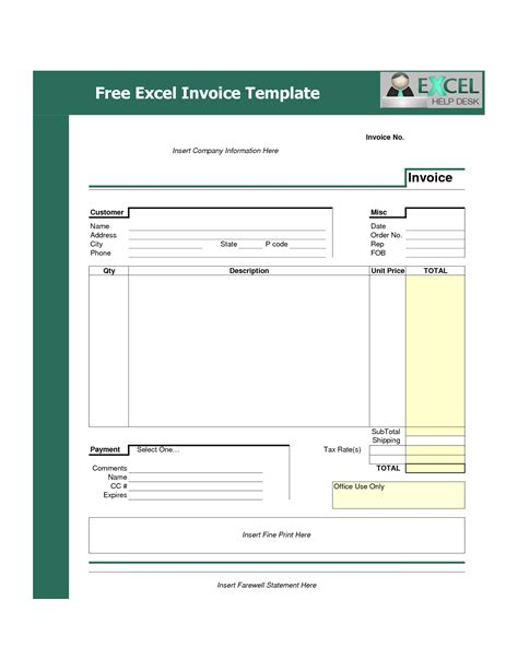 Excel Invoice Template Free Template Exle Of Excel Company Invoice With Green