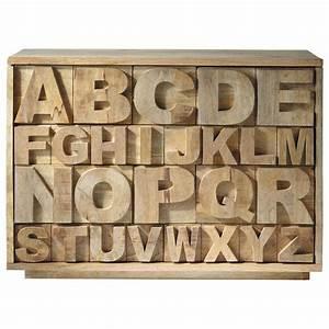Cabinet Maison Du Monde : mango wood cabinet w 120cm alphabet maisons du monde ~ Nature-et-papiers.com Idées de Décoration