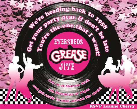 Personalised Grease Lightening Party Invitation for a