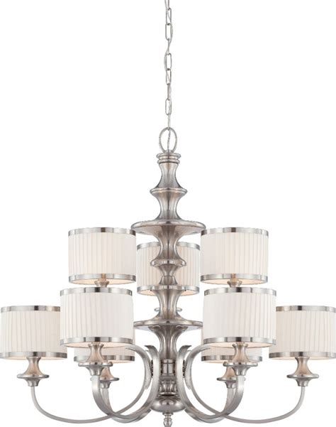 brushed nickel drum chandelier candice brushed nickel drum shade chandelier 36 quot wx32 quot h