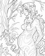 Pregnant Forest Deviantart Coloring Pages Adult Therapy Drawings Cute Colouring Fantasy sketch template