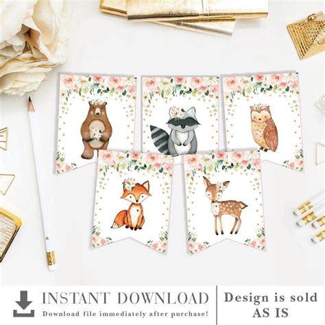 Girl Woodland Animals Printable Banner Blush Gold Floral