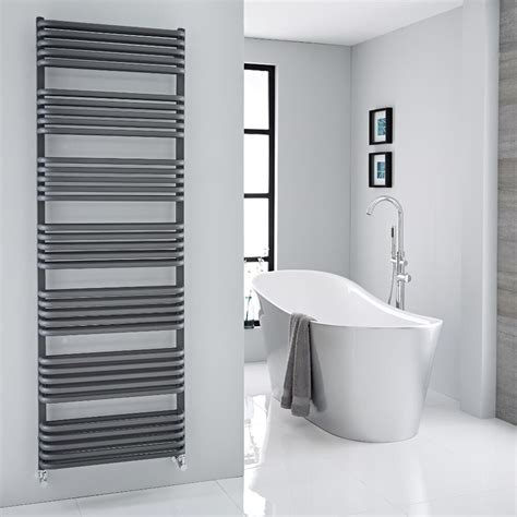 arch anthracite hydronic heated towel warmer