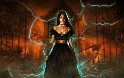 Vampire Gate Fantasy Dark Devil Woman Graveyard