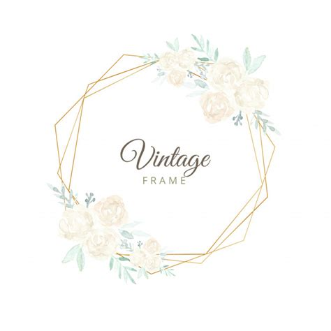 Watercolor floral vintage frame with gold border Vector