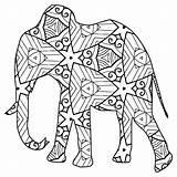 Coloring Animal Geometric Elephant sketch template