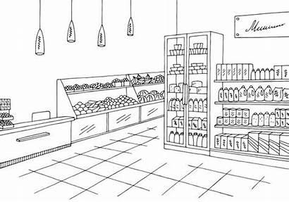 Grocery Sketch Illustration Vector Clipart Supermarket Interior