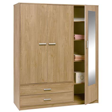 wood mirrors felix 3 door 2 drawer wardrobe brighton oak