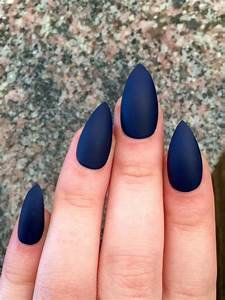 Matte nails, stiletto nails, navy blue, fake nails from ...
