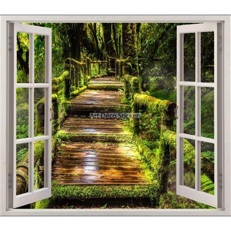 chambre à londres sticker fenêtre trompe l 39 oeil forêt réf 5459 stickers