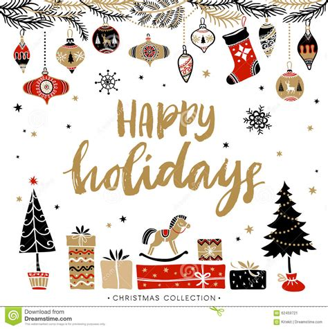 Happy Holidays Christmas Greeting Card With Calligraphy