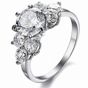 cubic zirconia white gold imitation diamond engagement With imitation wedding rings