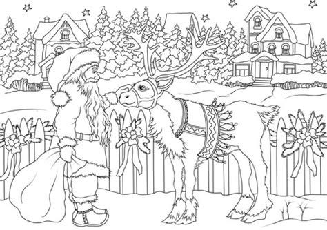 vintage santa claus   christmas deer coloring page  printable coloring pages