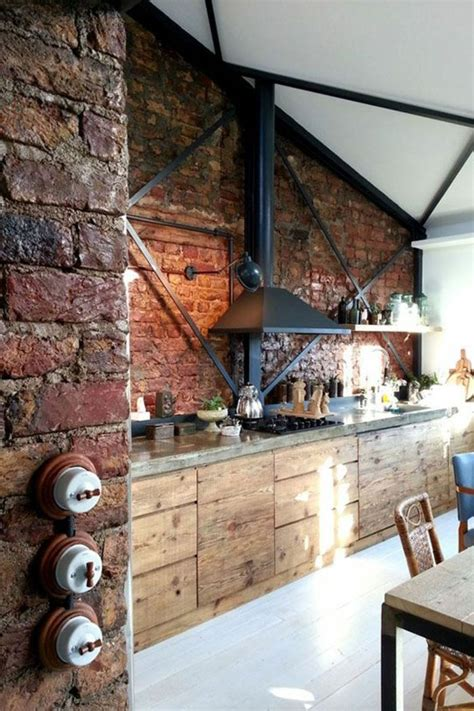 cuisine moderne en bois massif les 25 meilleures idées de la catégorie murs de briques