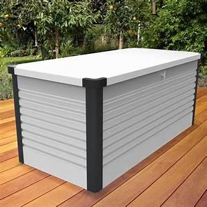 Coffre De Rangement Blanc : coffre de jardin s curis 1000l patio box m tal blanc trimetals ~ Nature-et-papiers.com Idées de Décoration