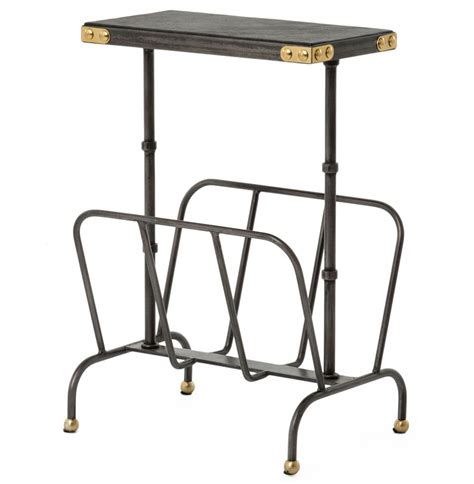 magazine rack table l hobart iron waxed black industrial loft magazine rack side