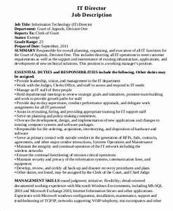 Child Care Director Job Descriptions Free 6 It Director Job Description Samples In Ms Word Pdf