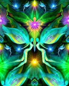Reiki Energy Art, Green Heart Chakra Healing Angel Print