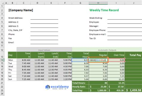 excel formula  overtime   hours   template