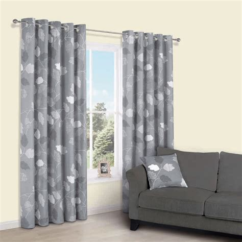 centola grey leaves print eyelet lined curtains  cm