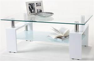 Table Basse Blanche Et Verre : table basse laqu e blanche et verre tremp kari ~ Teatrodelosmanantiales.com Idées de Décoration