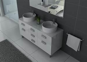 Meuble Vasque Double : meuble de salle de bain blanc 2 vasques meuble de salle de bain blanc dis911b ~ Teatrodelosmanantiales.com Idées de Décoration