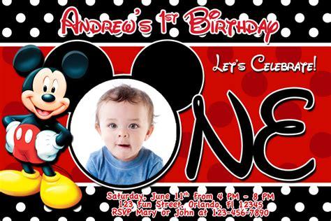 mickey mouse birthday invitation template mickey mouse 1st birthday invitations drevio invitations design