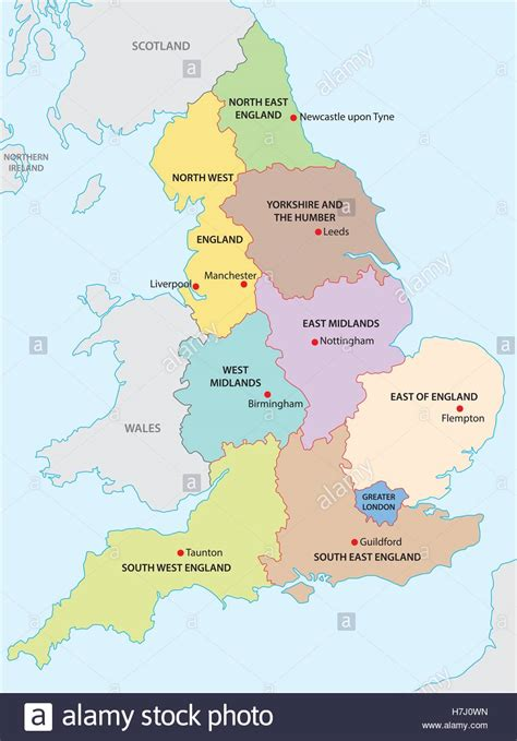 Outline Map Of The Nine Regions Of England Stock Vector Art & Illustration, Vector Image