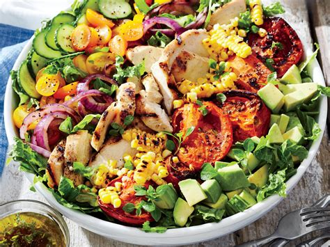 summer salads recipes grilled chicken and vegetable summer salad recipe myrecipes