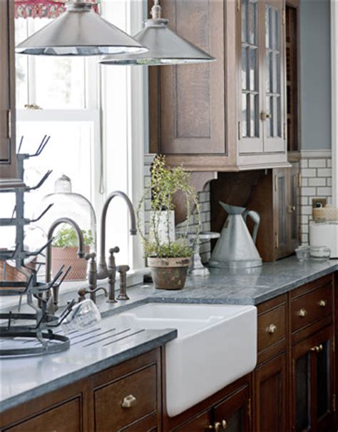 Pull Down Sink Faucet by Kitchen With Natural Wood Cabinets