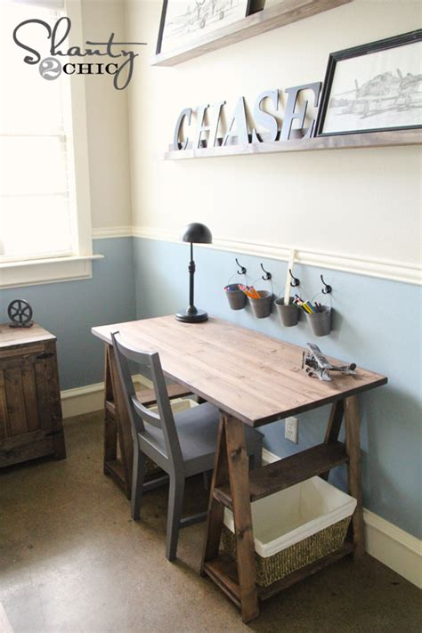 desk for boys room ana white 1x3 sawhorse desk diy projects