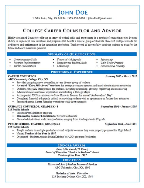 career counselor resume  guidance  college