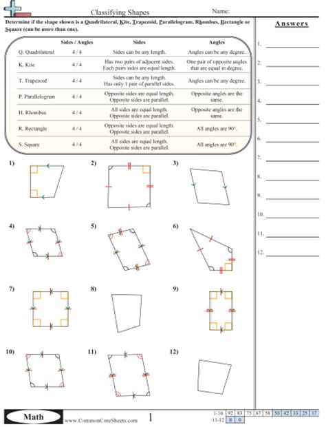 identifying quadrilaterals worksheets free worksheets