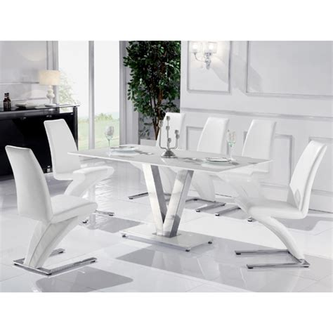 venus large white glass dining table and 6 white z chairs